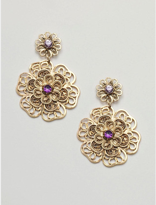 Sequin Jewelry Filigree Flower Earrings