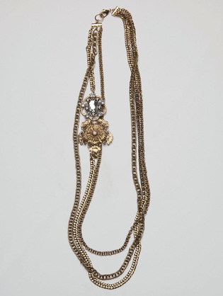 Sequin Jewelry Three Chain and Flower Brooch Necklace