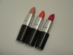 MAC Quick Sizzle, Watch Me Simmer, Innocence, Beware! Lipstick