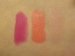 MAC Quick Sizzle, Watch Me Simmer, Innocence, Beware! Lipstick swatches